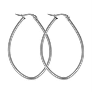 Picture of Silver Oval Hoop Earrings